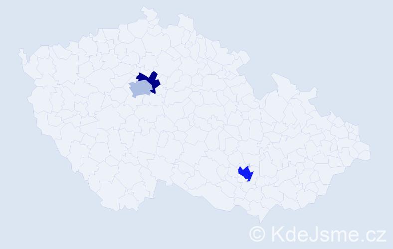 Příjmení: 'Dagan', počet výskytů 18 v celé ČR