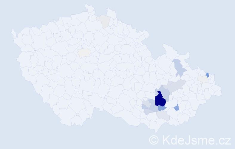 Příjmení: 'Bébar', počet výskytů 63 v celé ČR