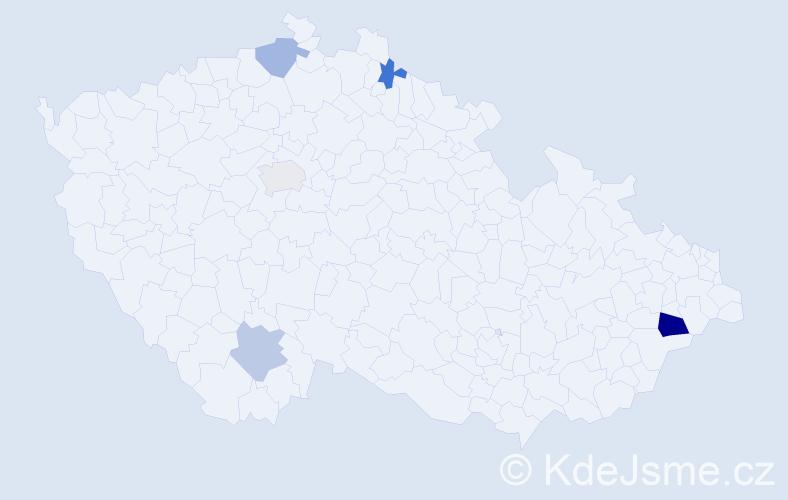 Příjmení: 'Daučíková', počet výskytů 7 v celé ČR