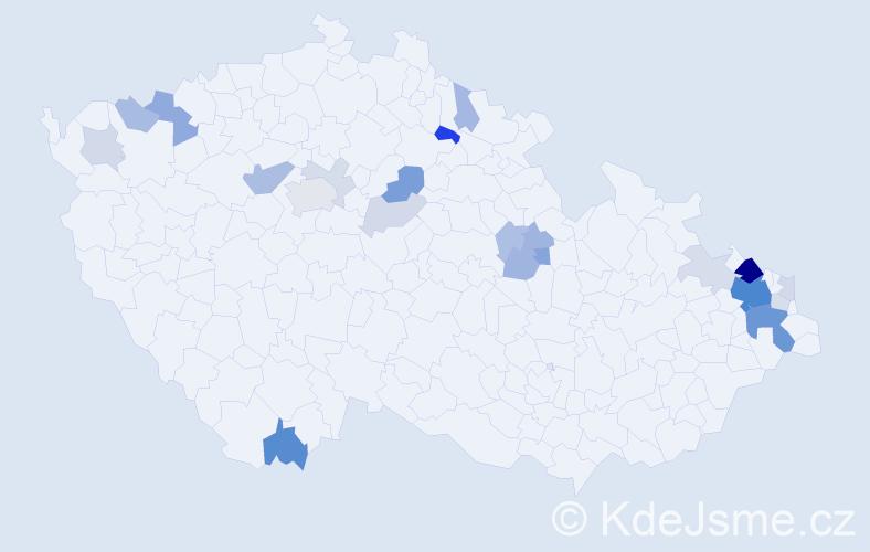 Příjmení: 'Lesňáková', počet výskytů 66 v celé ČR