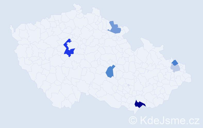 Příjmení: 'Ďurďovič', počet výskytů 10 v celé ČR