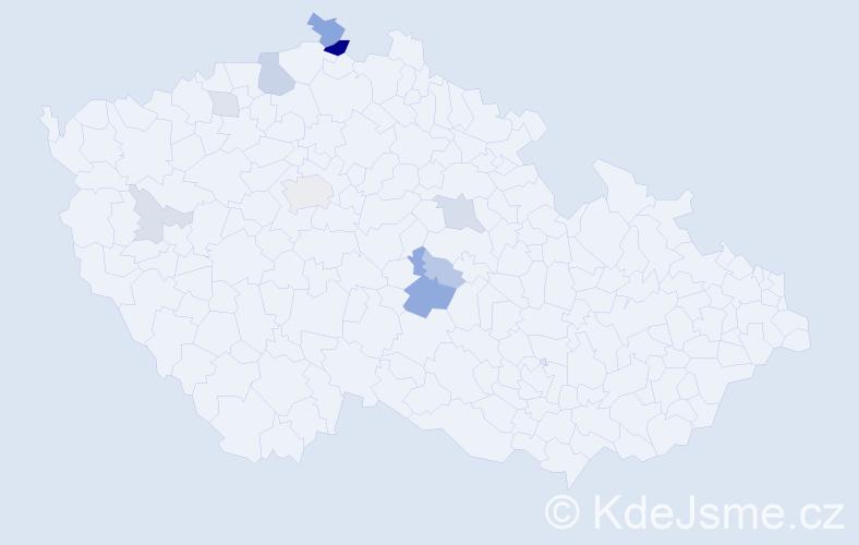 Příjmení: 'Endál', počet výskytů 26 v celé ČR