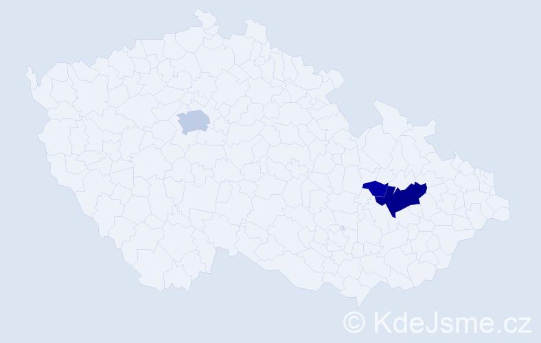 Příjmení: 'Haitmanová', počet výskytů 9 v celé ČR