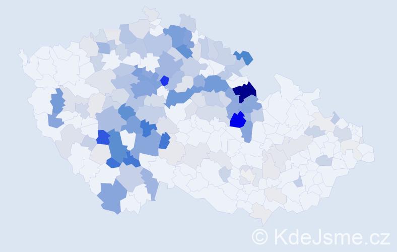 Příjmení: 'Jareš', počet výskytů 741 v celé ČR