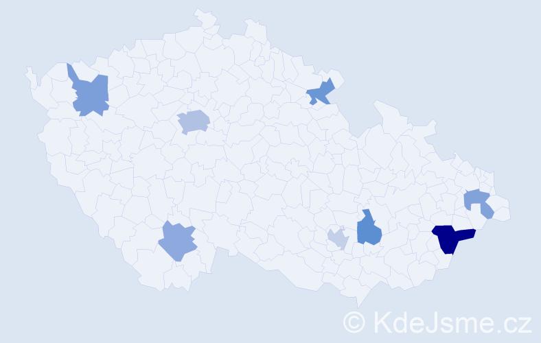 Příjmení: 'Eggerová', počet výskytů 13 v celé ČR