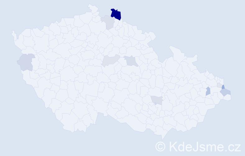 Příjmení: 'Čverčko', počet výskytů 24 v celé ČR