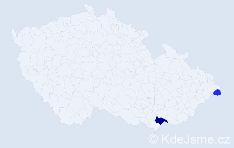 Příjmení: 'Jureňová', počet výskytů 5 v celé ČR
