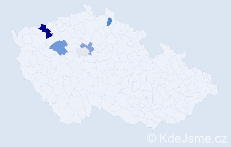 Příjmení: 'Kender', počet výskytů 14 v celé ČR