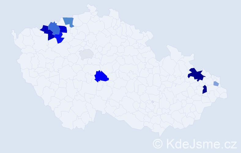 Příjmení: 'Cáderová', počet výskytů 19 v celé ČR