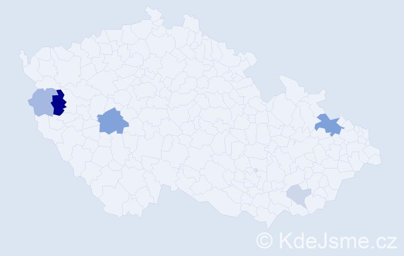 Příjmení: 'Gulej', počet výskytů 12 v celé ČR