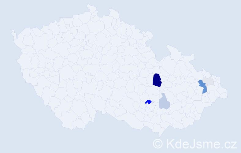 Příjmení: 'Kyanková', počet výskytů 15 v celé ČR