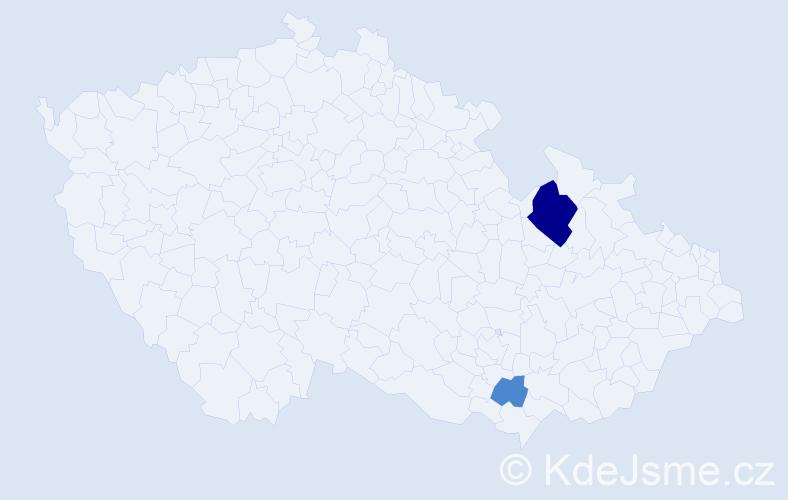 Příjmení: 'Kopot', počet výskytů 5 v celé ČR