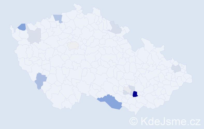 Příjmení: 'Lábrová', počet výskytů 24 v celé ČR