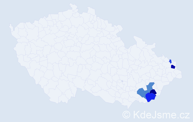 Příjmení: 'Byčanová', počet výskytů 12 v celé ČR