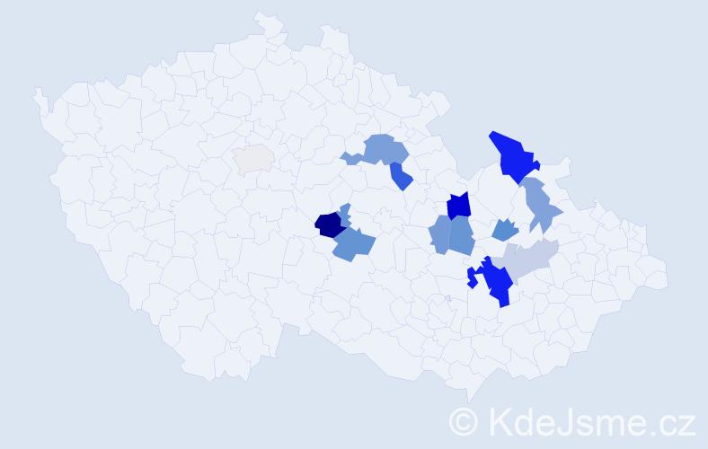 Příjmení: 'Hacurová', počet výskytů 25 v celé ČR