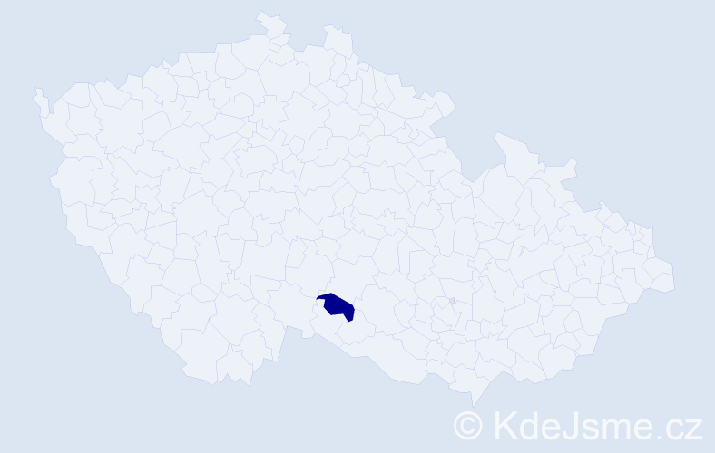 """Příjmení: '""""Čechová Vodrážková""""', počet výskytů 1 v celé ČR"""