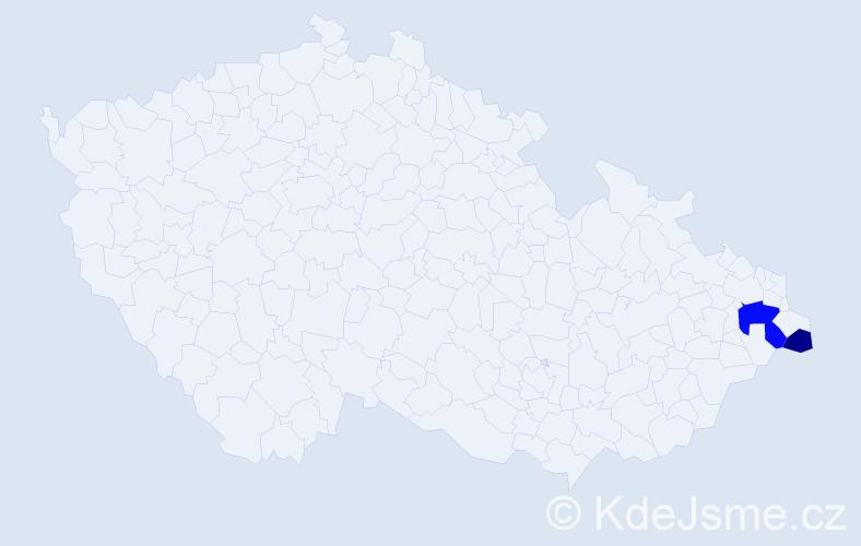 Příjmení: 'Jopčíková', počet výskytů 4 v celé ČR