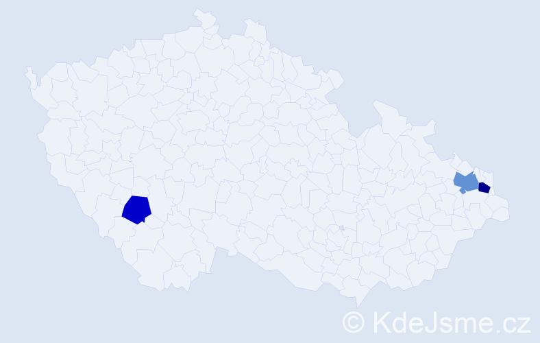 Příjmení: 'Ihnatík', počet výskytů 5 v celé ČR