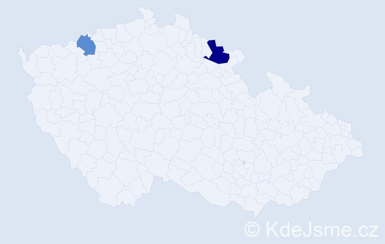 Příjmení: 'Aaldersová', počet výskytů 3 v celé ČR