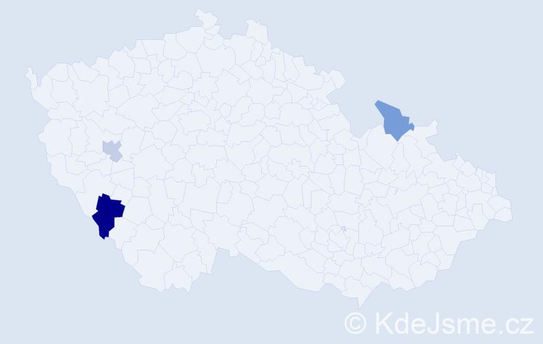 Příjmení: 'Henselyová', počet výskytů 4 v celé ČR