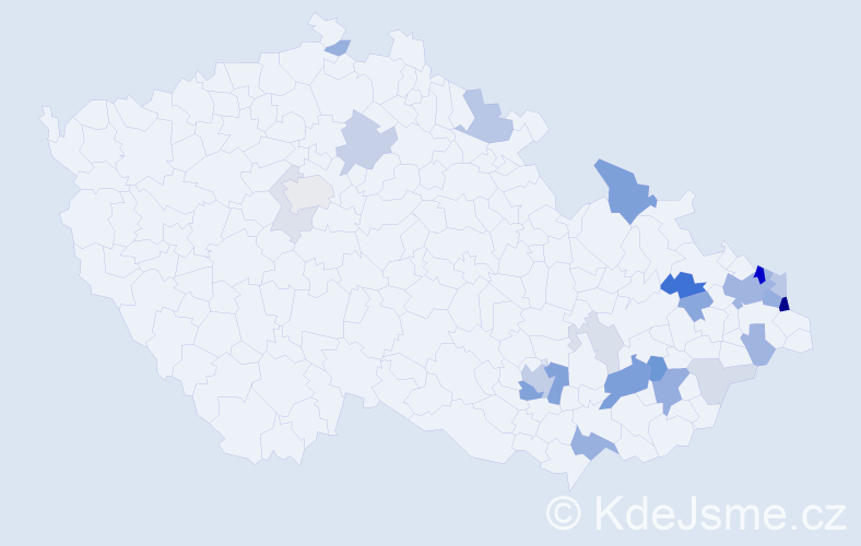 Příjmení: 'Janas', počet výskytů 73 v celé ČR