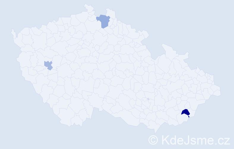 Příjmení: 'Bacigálová', počet výskytů 3 v celé ČR