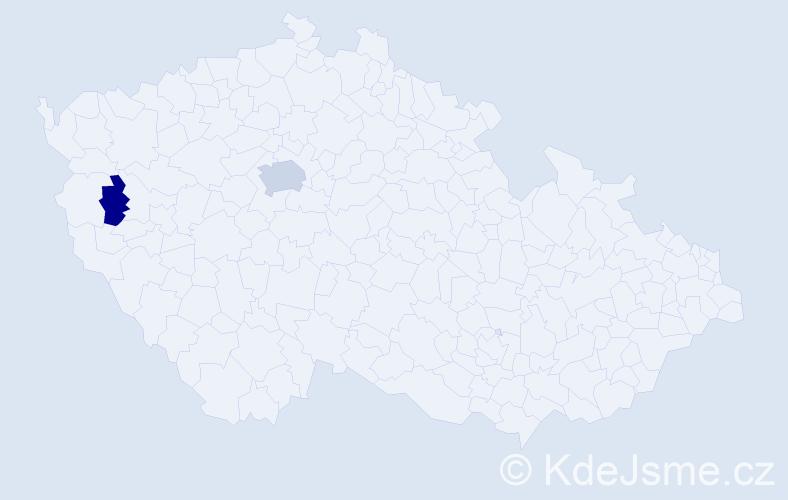 Příjmení: 'Háčik', počet výskytů 4 v celé ČR
