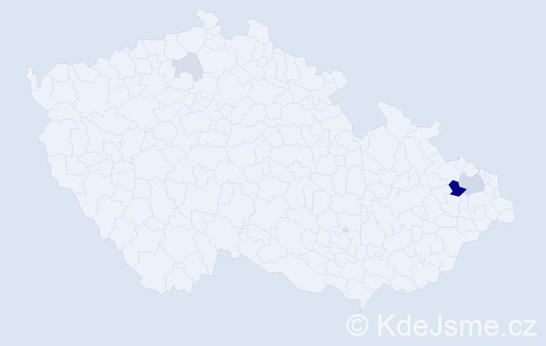 Příjmení: 'Bachoříková', počet výskytů 13 v celé ČR
