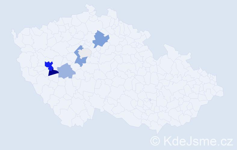 Příjmení: 'Jirmář', počet výskytů 15 v celé ČR