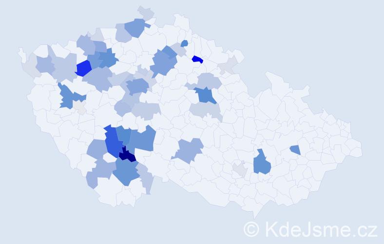 Příjmení: 'Kabele', počet výskytů 228 v celé ČR
