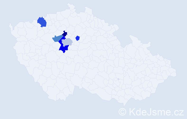 Příjmení: 'Jakouš', počet výskytů 19 v celé ČR