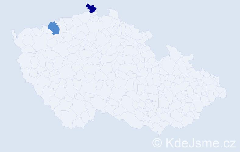 Příjmení: 'Bob', počet výskytů 2 v celé ČR