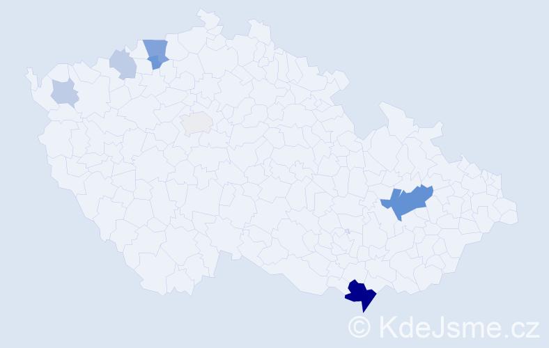 Příjmení: 'Laschková', počet výskytů 21 v celé ČR