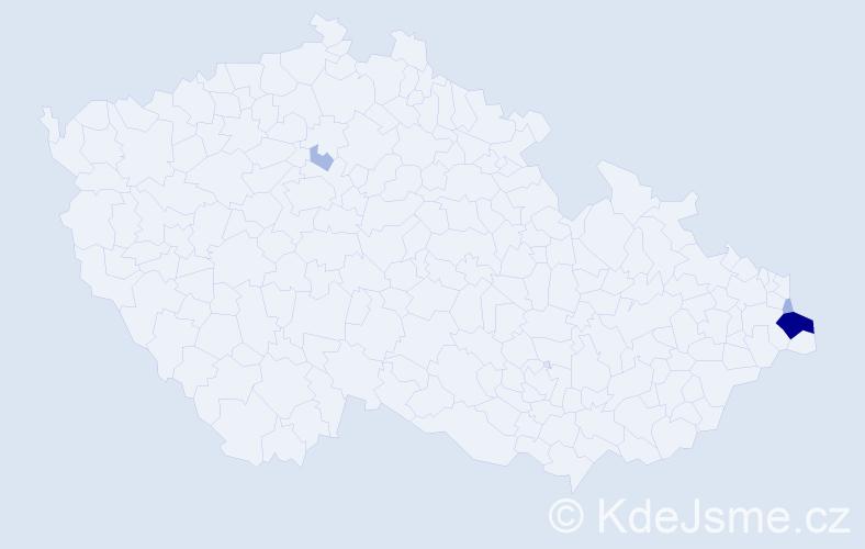 Příjmení: 'Gluza', počet výskytů 14 v celé ČR