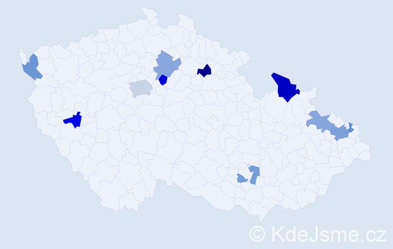 Příjmení: 'Kicková', počet výskytů 16 v celé ČR