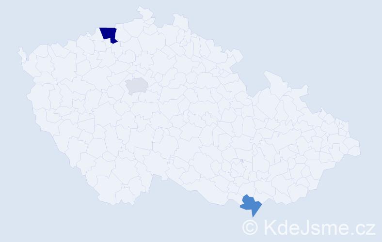 Příjmení: 'Karpova', počet výskytů 5 v celé ČR