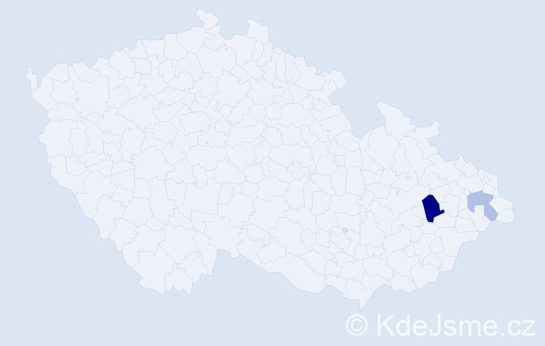 Příjmení: 'Kitan', počet výskytů 4 v celé ČR