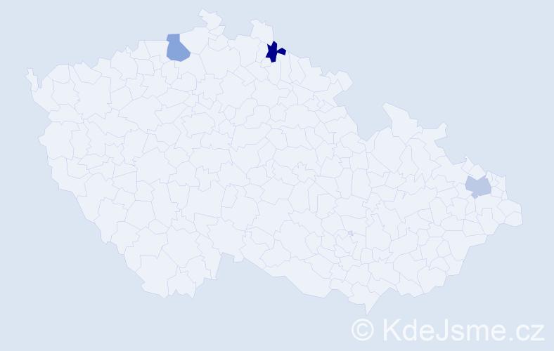 Příjmení: 'Angel', počet výskytů 3 v celé ČR