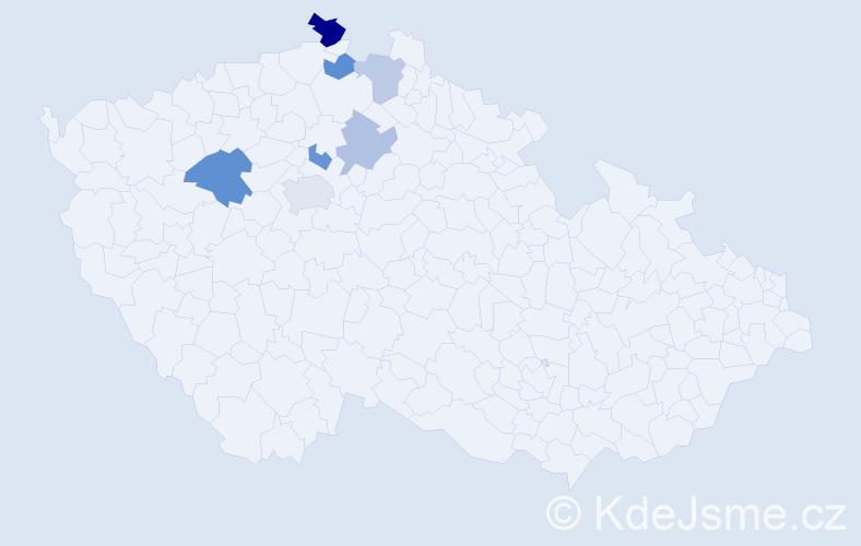 Příjmení: 'Abramcov', počet výskytů 11 v celé ČR