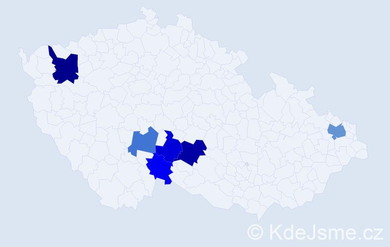 Příjmení: 'Kuca', počet výskytů 9 v celé ČR