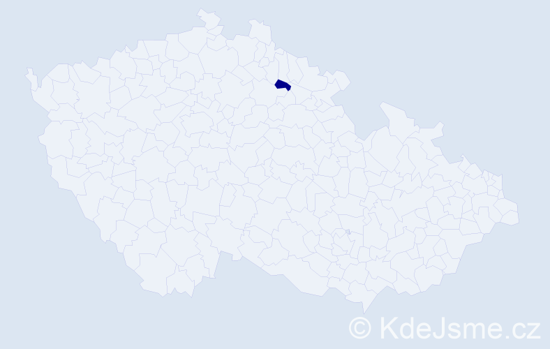 """Příjmení: '""""Jičínská Kučerová""""', počet výskytů 1 v celé ČR"""