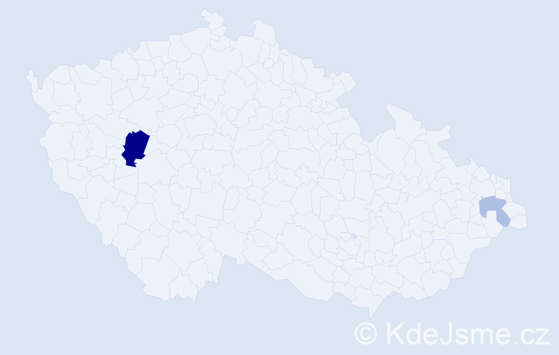 Příjmení: 'Barczik', počet výskytů 5 v celé ČR