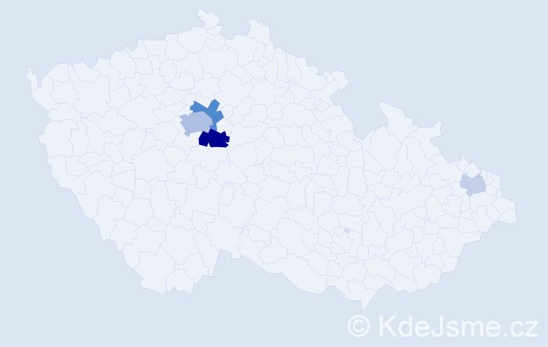 Příjmení: 'Cochová', počet výskytů 11 v celé ČR