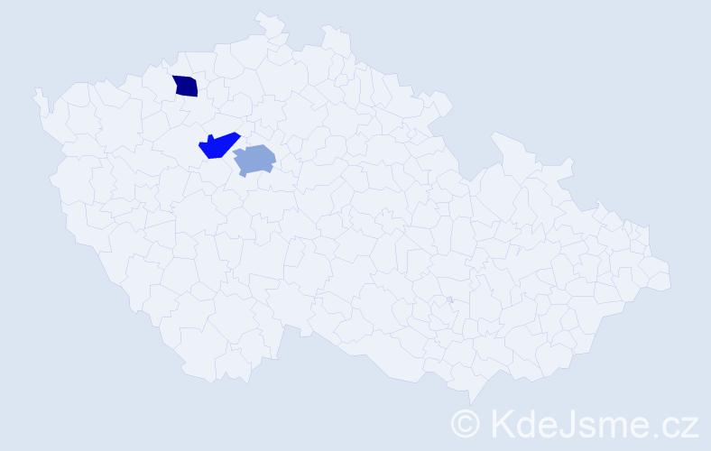 Příjmení: 'Dale', počet výskytů 4 v celé ČR