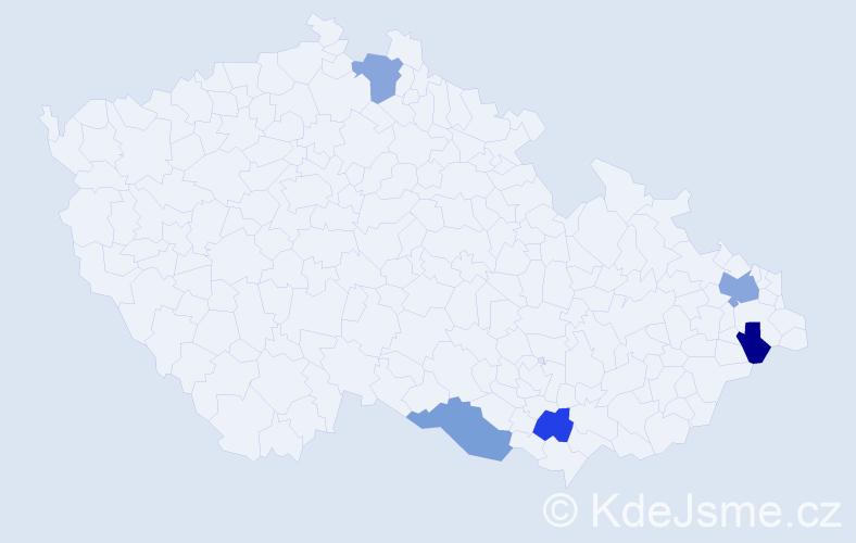 Příjmení: 'Fíža', počet výskytů 6 v celé ČR