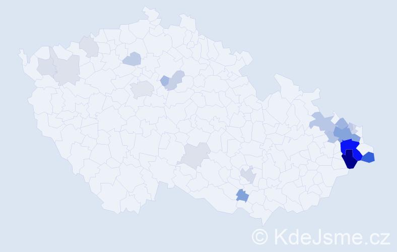 Příjmení: 'Kačmařík', počet výskytů 79 v celé ČR