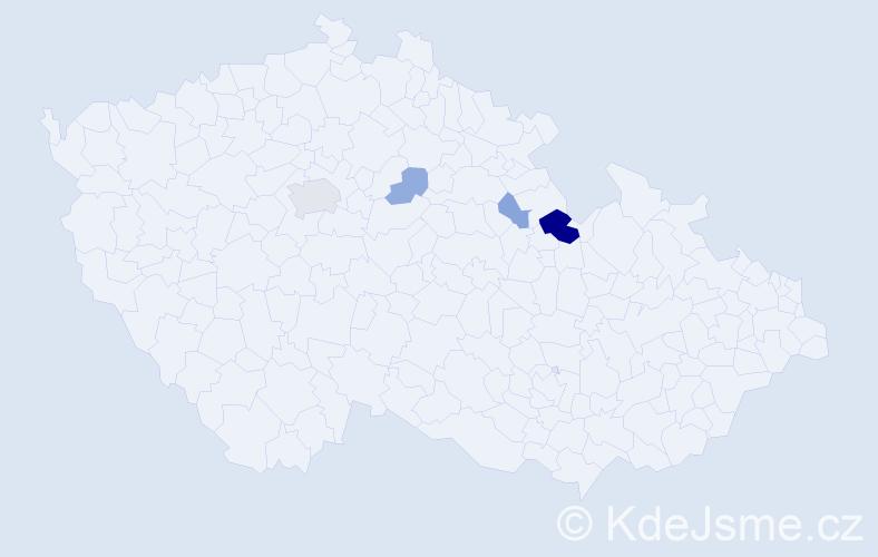Příjmení: 'Klubert', počet výskytů 10 v celé ČR