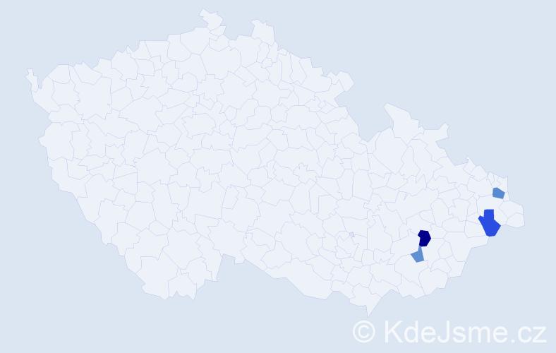 Příjmení: 'Hulenková', počet výskytů 12 v celé ČR