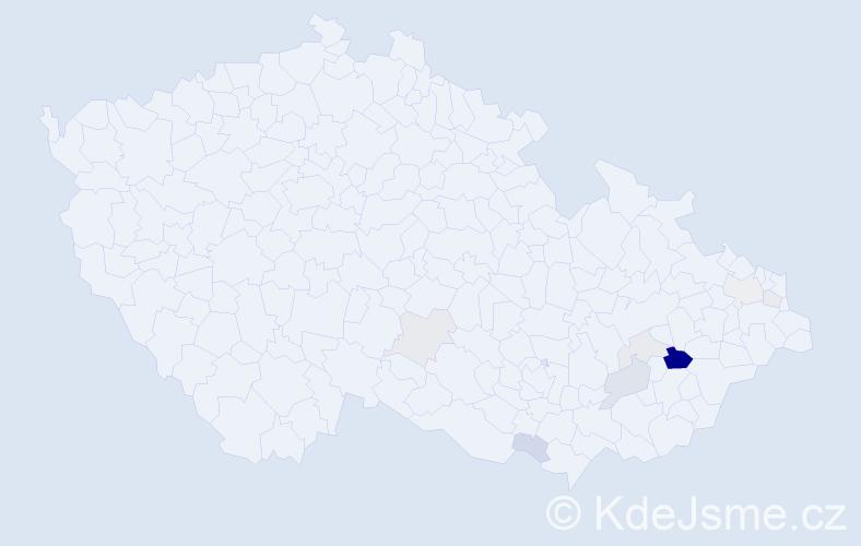 Příjmení: 'Kaďůrková', počet výskytů 19 v celé ČR