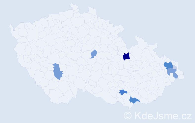 Příjmení: 'Čmarada', počet výskytů 29 v celé ČR